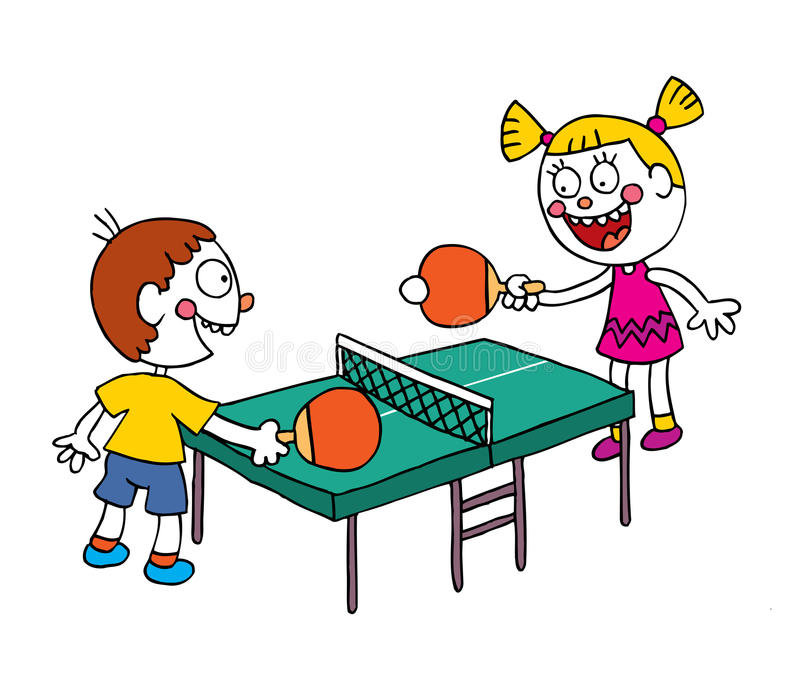 kids playing table tennis ping pong illustration 76588088